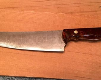 Damascus chef's knife - hand forged