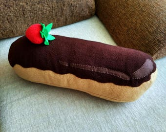 Eclair Pillow Chocolate frosting - giant food, plush eclair