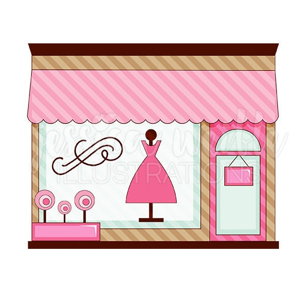 pink boutique store front cute digital clipart cute boutique rh etsy com Boutique Shop Clip Art free clipart clothes shopping