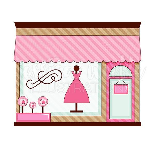 pink boutique store front cute digital clipart cute boutique rh etsy com clothes shopping clipart free