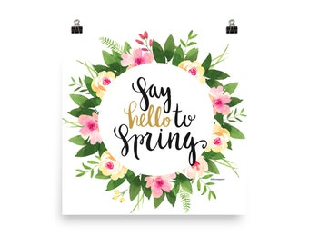 Hello Spring Watercolor Poster