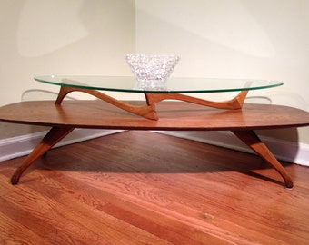 SALE SALE SALE Mid Century Coffee Table, Vladimir Kagan Inspired, Walnut,  Two Tiered
