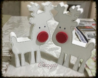 Handpainted freestanding pair of reindeers - Lovely white color/christmas/personalised/decorative