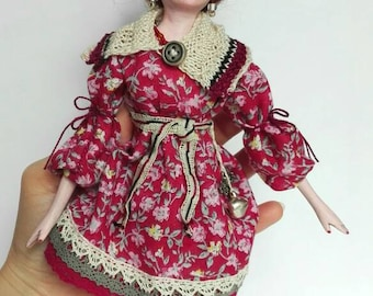 Art doll OOAK, boho decor, bohemian, mixed media art, handmade dol, cloth doll, fabric doll, soft doll, home decoration, unique - 9 inch