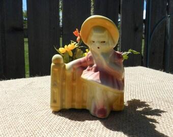 Vintage Shawnee Girl at Gate planter
