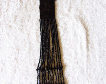 Bead Woven and Beaded Tassel Lariat Necklace