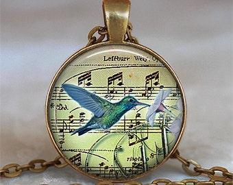 Hummingbird Music pendant, hummingbird necklace hummingbird jewelry pendant key chain key ring keychain key fob