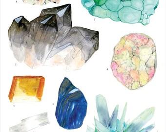 Crystal Specimen Chart #2 print - 11x14