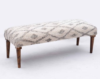 Beni Ourain Painted Shag Upholstered Bench Ottoman -  Ivory with Black Diamond Pattern