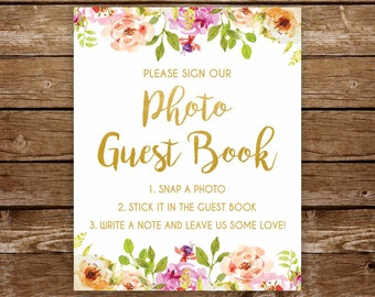 Photo guestbook sign printable sign photo guest book sign printable wedding guestbook bridal shower sign wedding sign baby shower sign 237
