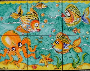 Hand Painted Ceramic Tiles - Octopus Decor -  Bathroom Ceramic Wall Mural - Art Tiles - Mosaic Tile Art - Tile Wall Art - Decorative Tiles