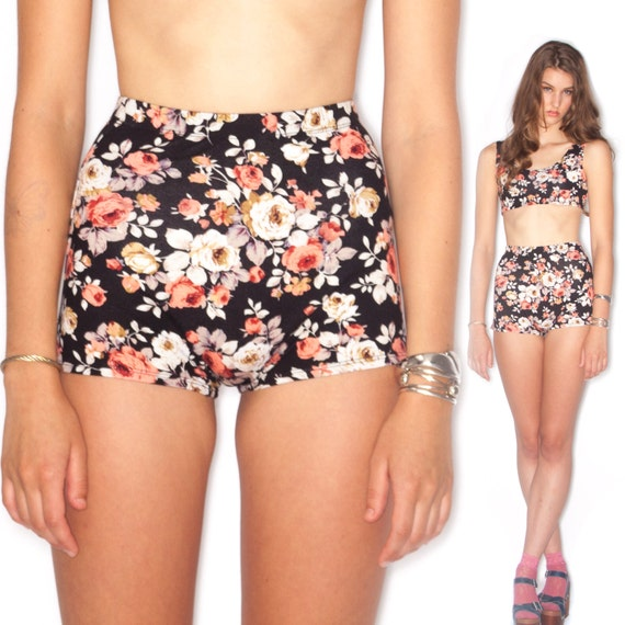 VIXEN High waist Ultra Stretch Floral cheeky fitted shorts