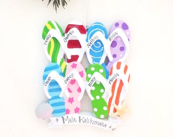 8 Flip Flops Family Personalized Christmas Ornament / Family Christmas Ornament / Flip Flops / Tropical Christmas