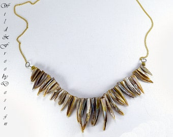 Spikey Shell Necklace Spike Gold Chain Boho Wild Edgy Bohemian Hippie Indie Gypsy Women Accessory Festival Fashion Casual Day Wear Costume
