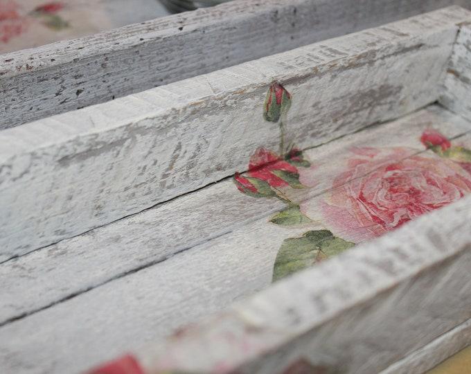 Vintage Rose Decorative Trays - Set of 2