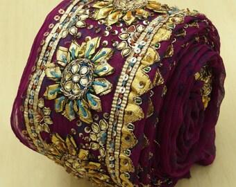 Free Shipping Indian Vintage Hand Beaded Border Magenta Sari Antique Ribbon Sewing 1yd Lace VB14475