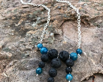 Lava Bead Essential Oil Diffusing Necklace with Apatite Stone Bead Accents