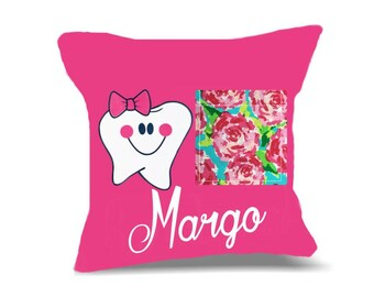 Personalized Tooth Fairy Pillow For Girls Hot Pink with Roses