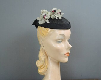 Vintage Black Flower Hat 1940s Topper, Black Straw Floral Tilt Hat