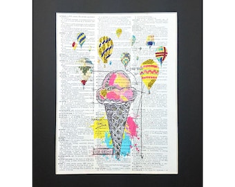 Ice cream Cone and Air Ballons on Vintage Dictionary Page Art Print, Wall Decor, Digital Manipulation with Sparks of Glitter,