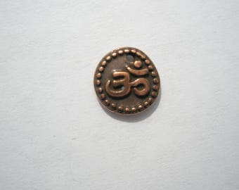 TierraCast Om Coin Charm, Antiqued Copper Plate - 10.75mm - 1