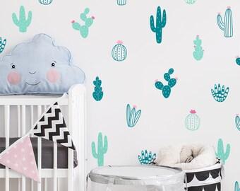 Cactus Wall Decals   Multicolor Vinyl Wall Decals, Nursery Wall Decals, Nursery  Wall Stickers