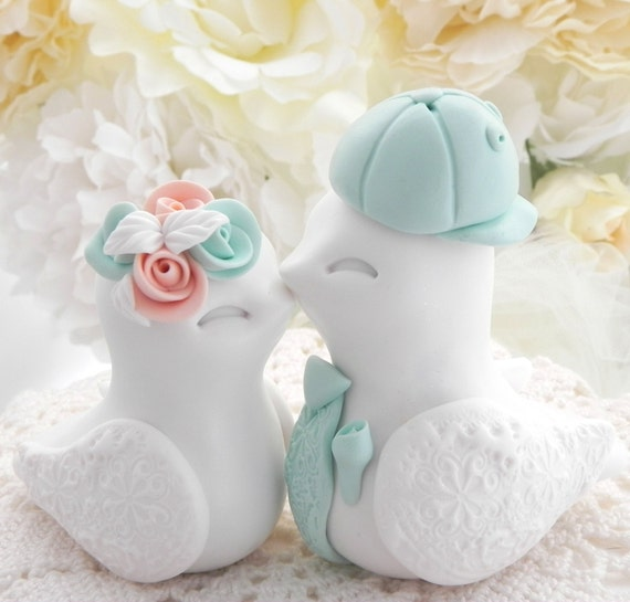 Love Birds Wedding Cake Topper, White, Peach and Mint Green,  Backwards Baseball Cap, Bride and Groom Keepsake, Fully Customizable