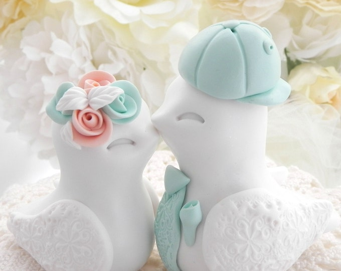 Love Birds Wedding Cake Topper, White, Peach and Mint Green,  Backwards Baseball Cap, Bride and Groom Keepsake, Fully Personalized