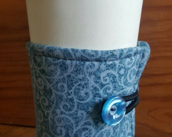 Blue jean swirled coffee/tea java jacket or koozie
