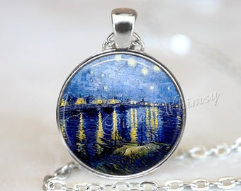 Van Gogh STARRY NIGHT Pendant Necklace Keychain, Starry Night Over The Rhone, Van Gogh Fine Art Jewelry, Starry Night Jewelry Sky Stars