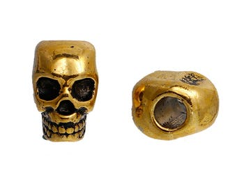 10 Gold Metal SKULL Beads, Large Hole, drilled top to bottom, great for leather cord, 12mm, bme0411a