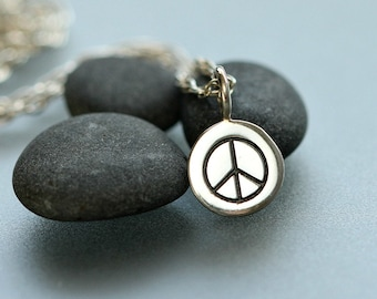 Peace necklace - Peace jewelry - Gift for her - Peace and love - Sterling Necklace - Simple jewelry Dainty necklace - Minimalist necklace