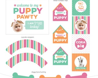 DIGITAL FILES Puppy Party Pawty Decorations, Puppy Birthday, Puppy Theme, Your Custom Photo, Doggie Party Collection, Doggie Party Kit