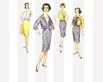 Tapered Peg Skirt Pattern with Sleeveless Top and Cropped Jacket Size 13 B 33 Uncut Vintage 1960s Simplicity 3357 Square Neckline