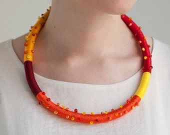 Color Block Rope Necklace, Colorful Summer Necklace, Tribal Rope Necklace,Thread Wrapped Necklace, Yellow, Red, Orange, Rope Jewelry