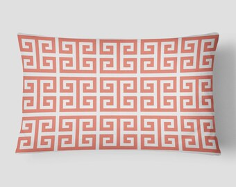 Coral Lumbar Pillow, Geometric Pillow, Pink White Cushion, 14x20 Cushion Cover, Squares Cushion, Cover and Insert, Decorative Pillow