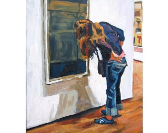 Figurative Painting. Perusing Modern Art MOMA NYC museum of modern art White Frame or Black Frame Fine Art Painting by Gwen Meyerson
