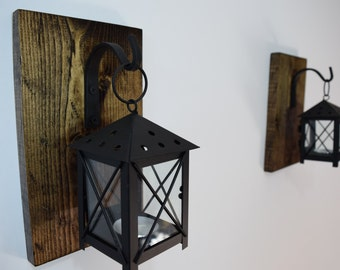 Rustic Candle Lantern Sconces - Wall Decor - Wall Sconce - Candle Lantern - Hanging Candle - Reclaimed Wood Decor -Tea Light Candle holder