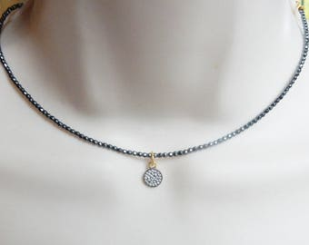 13' Faceted hematite choker with 2 inches gold plated  silver, sterling silver and oxidized silver extension chain, Finished  necklace,