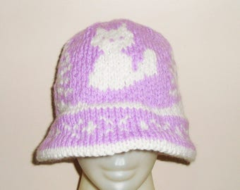 Hand Knit Fox Hat Adult Woman Hat Winter White Fox Lovey Cute Fox Lover Gift For Women - lilac hat