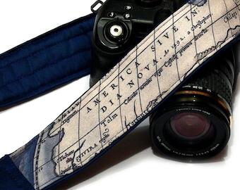 World Map Camera Strap. Vintage Camera Strap. SLR, DSLR Camera Strap. Gift For Photographer.