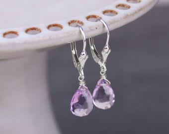 Pink Amethyst Earrings, Gemstone Drop Earrings, Sterling Silver Gold Filled Leverback Earrings, Closed Earrings, February Birt