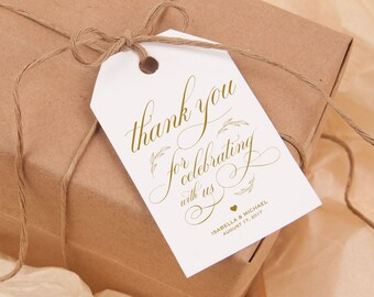 Gold Thank You Tag, Gift Tags, Wedding Thank You Tags, Wedding Favor, Thank You Printable, Favor Tag, DiY Kraft Printable tags, WPC_982