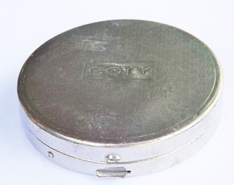 Vintage Silver Coty Mirror Compact and Pillbox with Snap Lid