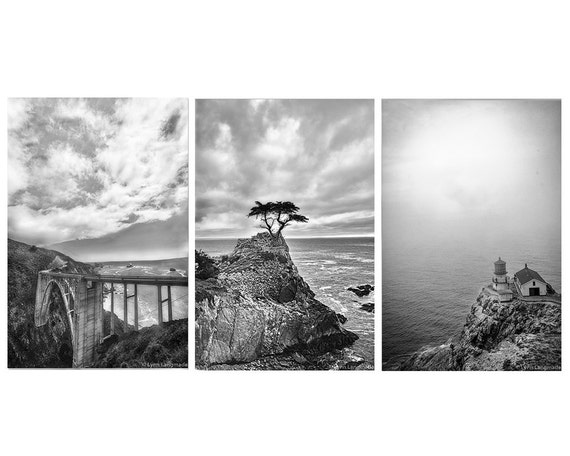 Coastal print set set of 3 black and white prints 5x7 8x12