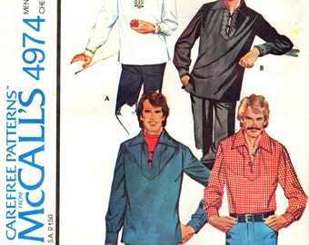 McCall's 4974 Men's Pullover Shirt EMBROIDERY TRANSFER 1970s ©1976