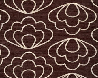 Organic Cotton Fabric Barkcloth Cloud 9, Time Warp, Ripple Brown, Geometric Print, by Jessica Jones