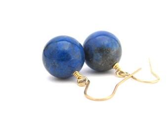 Lapis Earrings, Gemstone Earrings, Lapis Lazuli Blue Gem Stone, 14KT Gold Fill Earrings, Bold Genuine Stone, Gold Earrings, Gift for Her