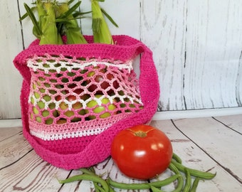 Crochet Market Bag, Market Tote, Farmers Market Bag, Shopping Tote, EcoFriendly Market Bag, Mesh Bag, Net Bag, Grocery Tote, Produce Bag