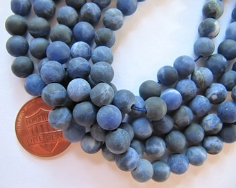 6mm Frosted Sodalite Beads in Matte Blue and Cream, 1 Strand 15 Inches, Approx 60 Beads, Round Gemstones